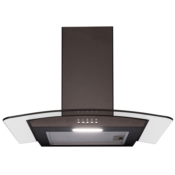SIA 60cm Black 4 Zone Solid Plate Hob And Curved Glass Cooker Hood Extractor Fan