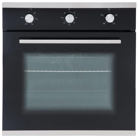 SIA 60cm Single Electric Fan Oven, Gas 4 burner Glass Hob And Smoked Glass Hood