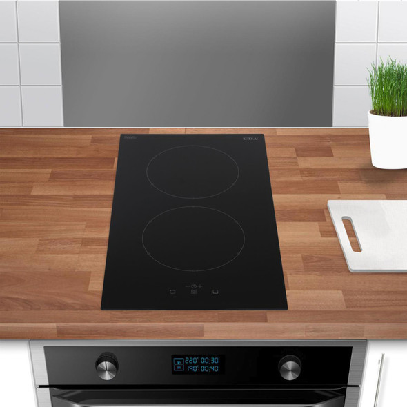 CDA HN3621FR 30cm Black Domino 2 Zone Touch Control Electric Induction Hob