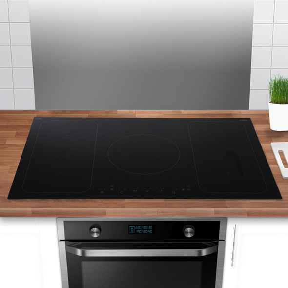 CDA HN9611FR 90cm Black Touch Control 5 Zone Flexi Bridge Induction Hob | Boost