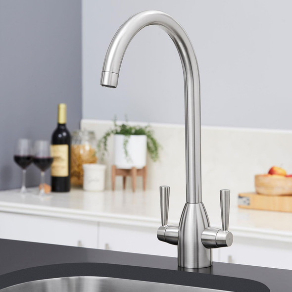 SIA KT5BN Brushed Nickel Swan Neck Twin Lever Modern Monobloc Kitchen Mixer Tap