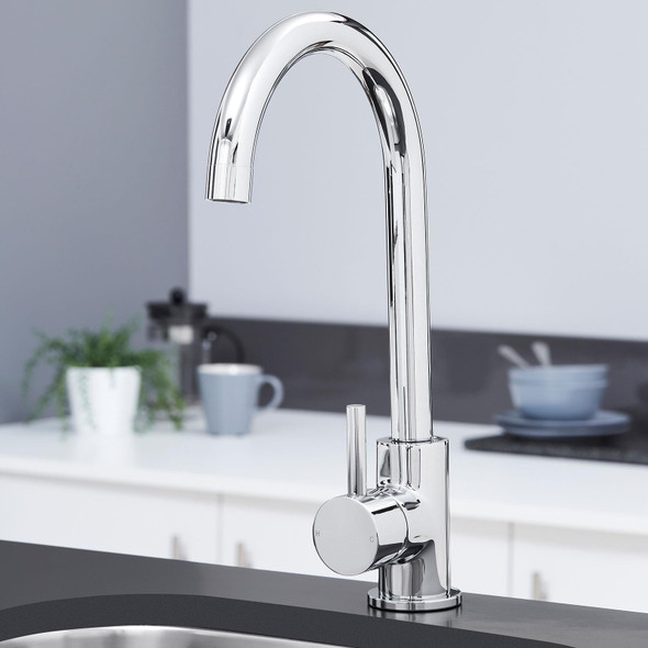 SIA KT6CH Chrome Swan Neck Single Lever Contemporary Monobloc Kitchen Mixer Tap
