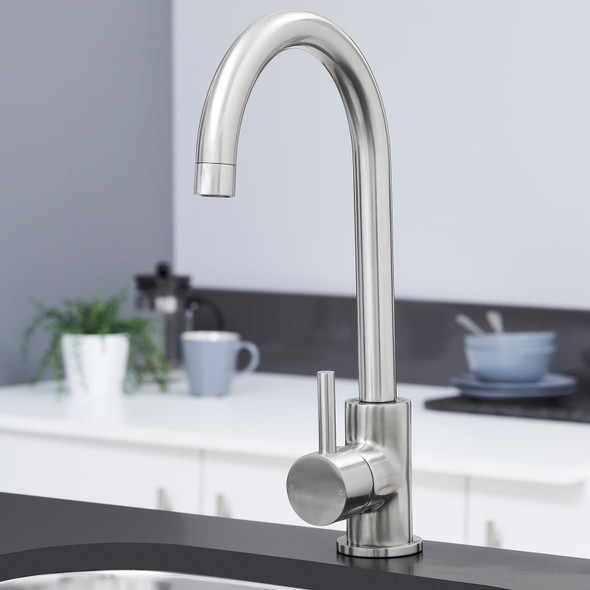 SIA KT6BN Brushed Nickel Swan Neck Single Lever Monobloc Kitchen Mixer Tap