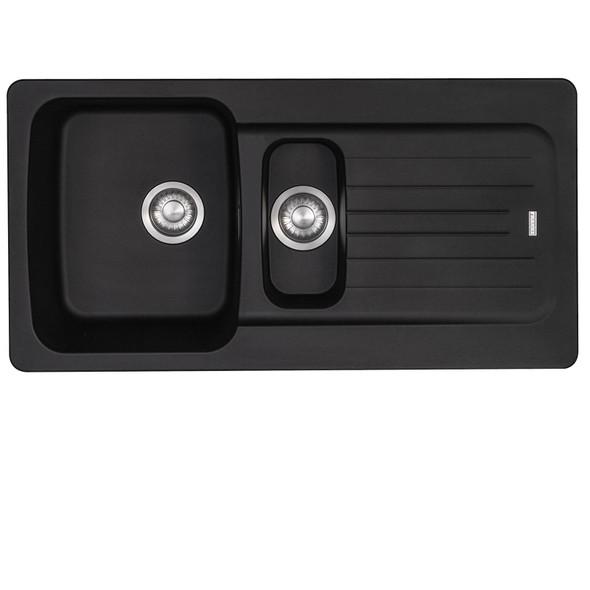 Franke Aveta 1.5 Bowl Black Tectonite Kitchen Sink & Chrome Swivel Mixer Tap