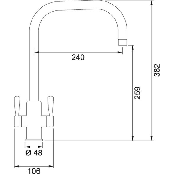 Franke Ascona U-Spout Silk Steel Twin Lever Modern Monobloc Kitchen Mixer Tap