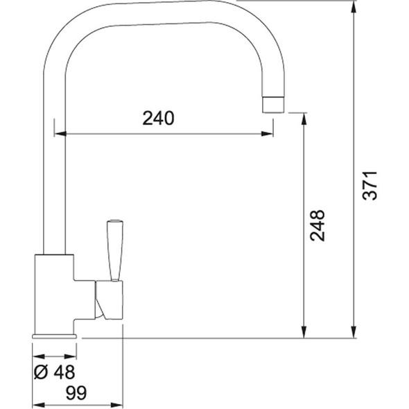 Franke Fuji U-Spout Silk Steel Single Lever Modern Monobloc Kitchen Mixer Tap