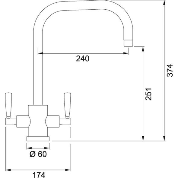 Franke Olympus Silk Steel U-Spout Twin Lever Modern Monobloc Kitchen Mixer Tap