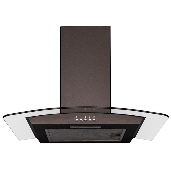 SIA CGH70BL 70cm Curved Glass Black LED Cooker Hood Extractor And Carbon Filter