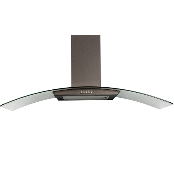 SIA CGH110BL Black 110cm Curved Glass Chimney Cooker Hood Fan And 3m Ducting Kit