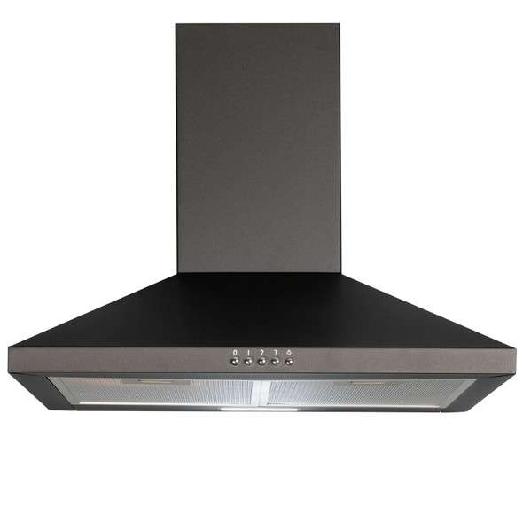 SIA CHL70BL 70cm Black Chimney Cooker Hood Fan And Toughened Glass Splashback