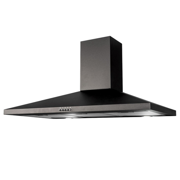 SIA CHL90BL 90cm Black Chimney Cooker Hood Fan And Toughened Glass Splashback