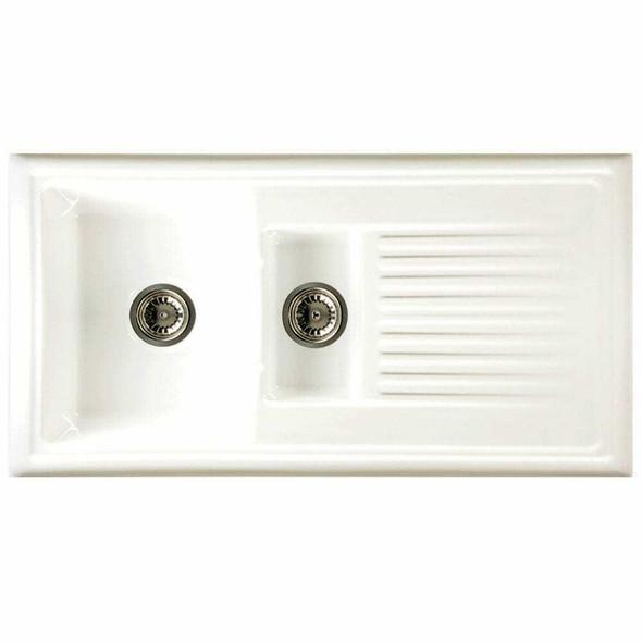 Reginox RL301CW 1.5 Bowl White Ceramic Reversible Kitchen Sink & Elbe Tap Pack
