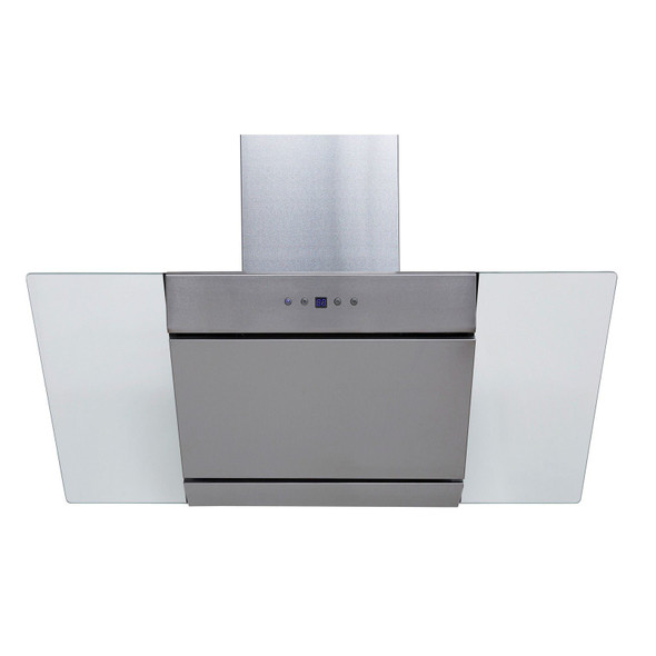 SIA 90cm Stainless Steel Angled Glass Chimney Cooker Hood Extractor &3m Ducting