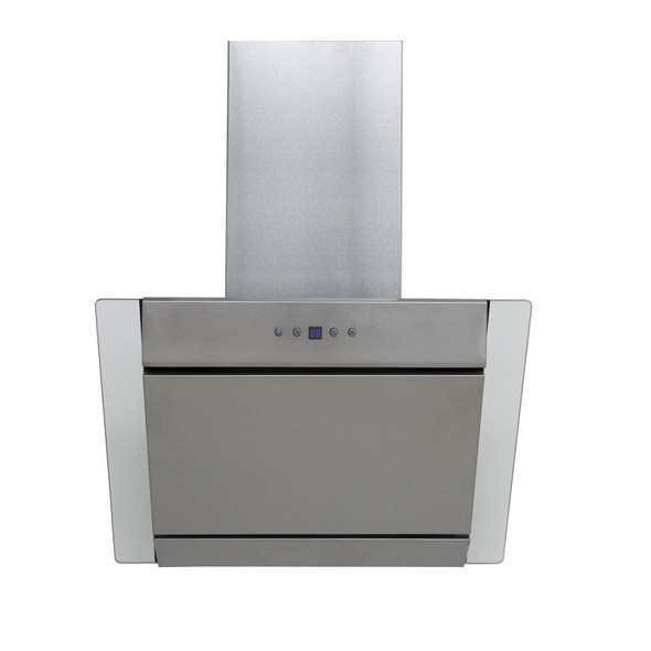 SIA 70cm Stainless Steel Angled Chimney Cooker Hood Fan And Glass Splashback
