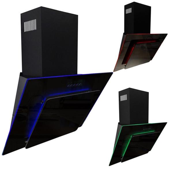 SIA 70cm Black 3 Colour LED Edge Lit Angled Cooker Hood And Glass Splashback