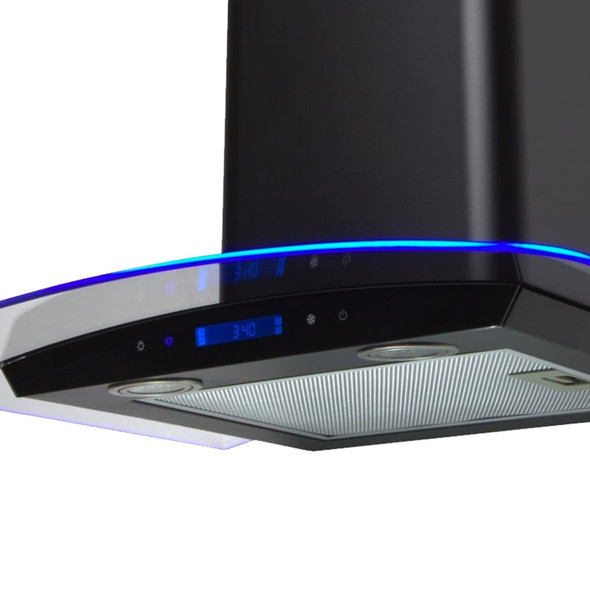 SIA 60cm Black Touch Control LED Curved Glass Cooker Hood Extractor + 1m Ducting