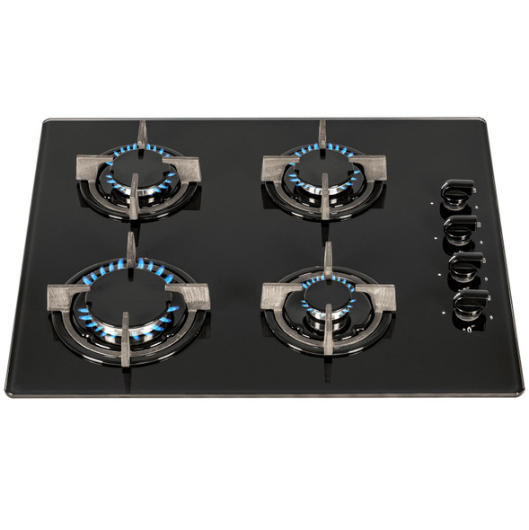 SIA 60cm Black 4 Burner Gas On Glass Hob And Curved Glass Cooker Hood Extractor