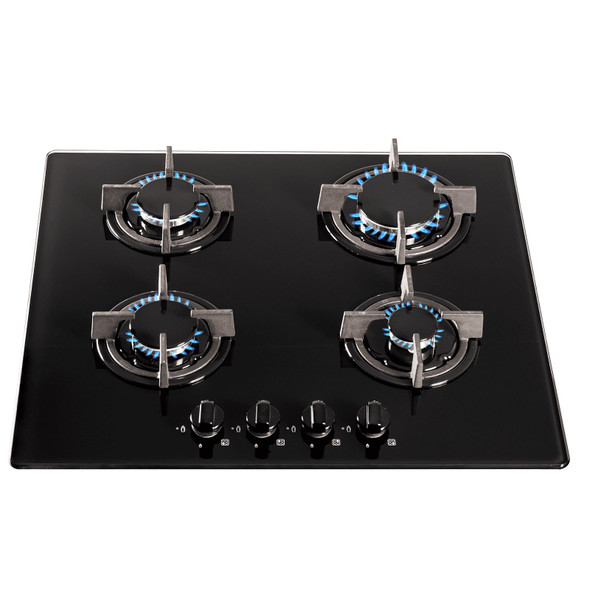 SIA 60cm 4 Burner Black Gas On Glass Hob And Curved Glass Cooker Hood Extractor