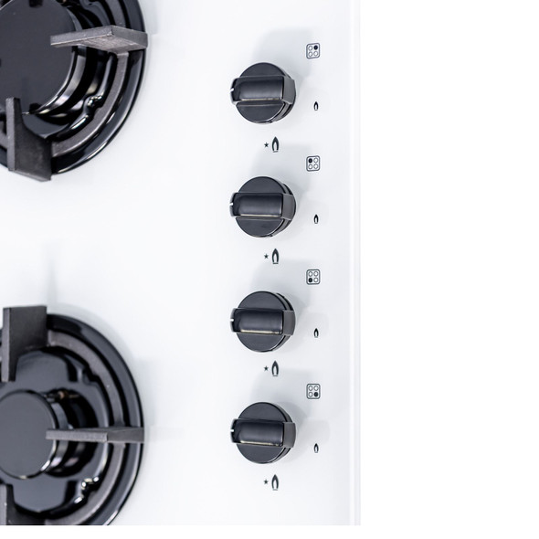 SIA GHG602WH 60cm White 4 Burner Gas On Glass Hob With Cast Iron Pan Stands