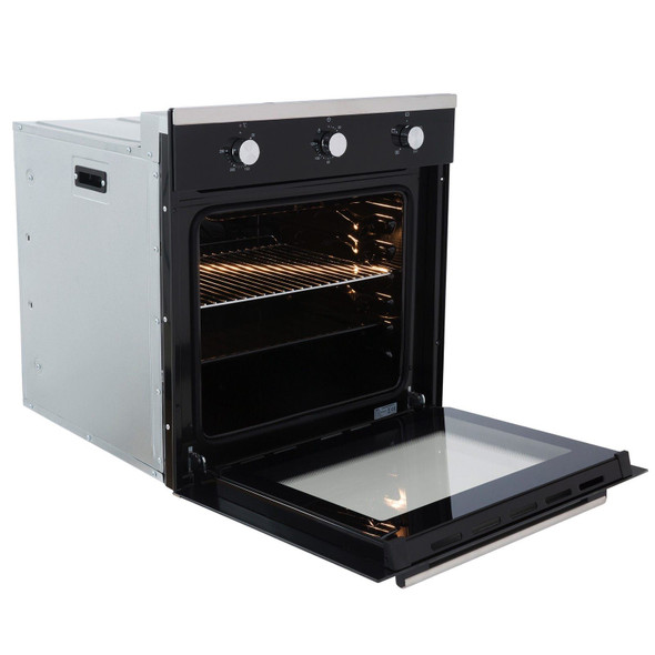 SIA 60cm Black Built In Electric Single Fan Oven, 4 Burner Gas Hob &Curved Hood