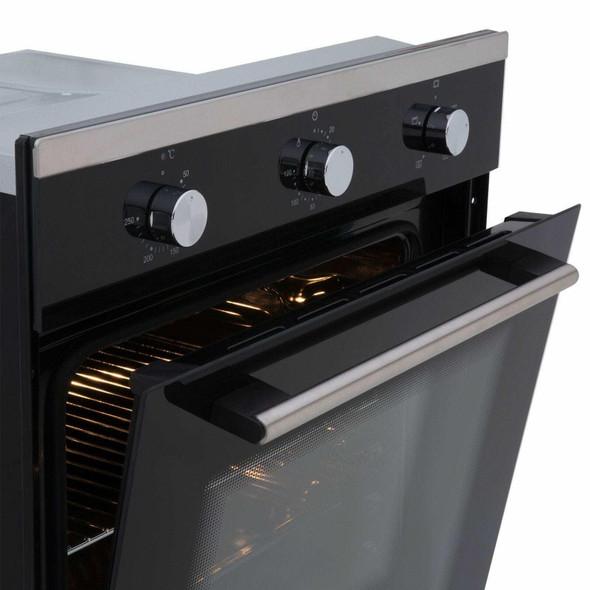 SIA 60cm Black Single Electric Fan Oven, 4 Burner Gas Hob And Visor Cooker Hood