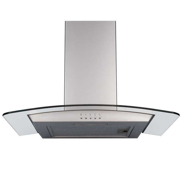 SIA CGH70SS 70cm Stainless Steel Curved Glass Cooker Hood And Glass Splashback