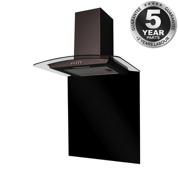 SIA CGH70BL 70cm Curved Glass Black Chimney Cooker Hood &70cm Glass Splashback