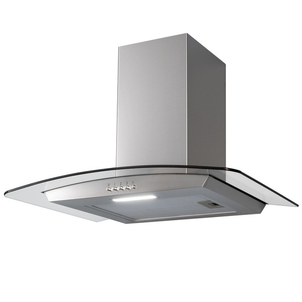 SIA CGH60SS 60cm Stainless Steel Curved Glass Cooker Hood And Glass Splashback