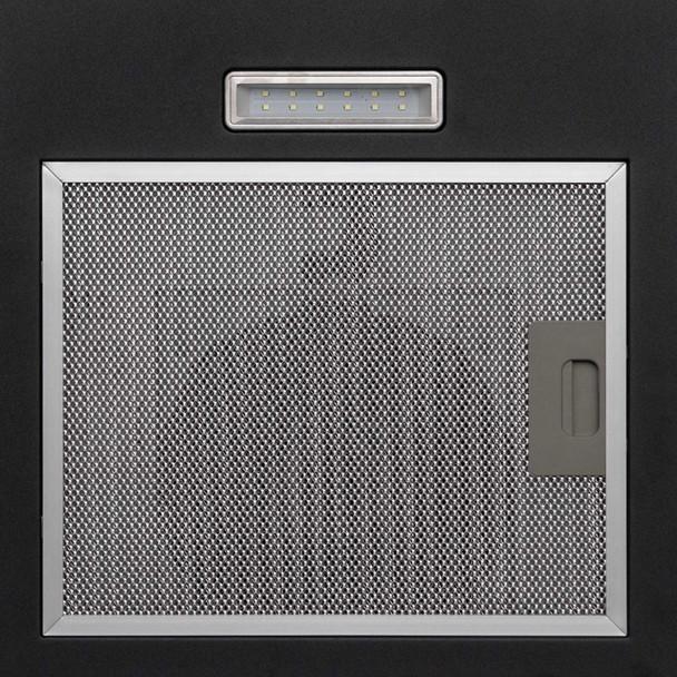 SIA CGH60BL 60cm Curved Glass Black Chimney Cooker Hood &60cm Glass Splashback