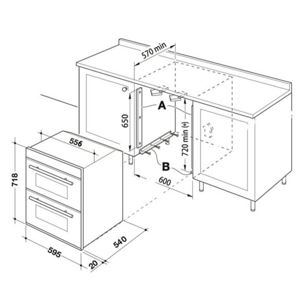 SIA Built Under Double Electric Fan Oven &70cm Black 5 Burner Gas On Glass Hob