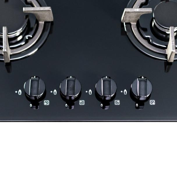 SIA 60cm Black Built Under Double Electric Fan Oven & SIA 4 Burner Gas Glass Hob
