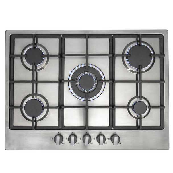 SIA 60cm Black Double Built In Oven And Stainless Steel 70cm 5 Burner Gas Hob