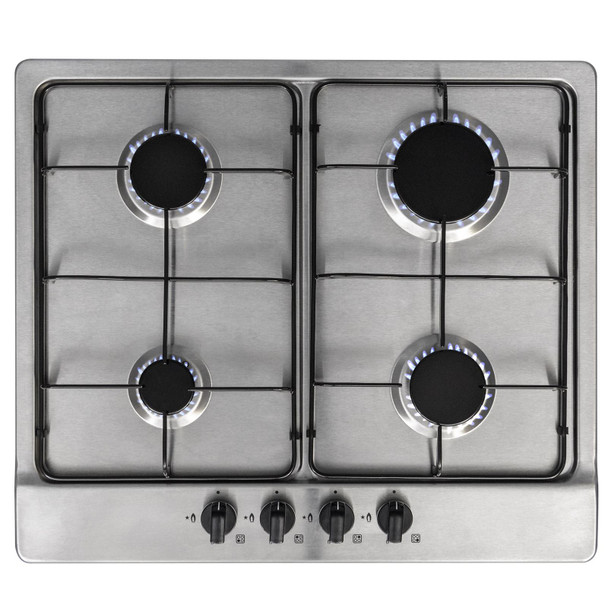 SIA Built Under Double Electric Fan Oven & 60cm 4 Burner Gas Stainless Steel Hob