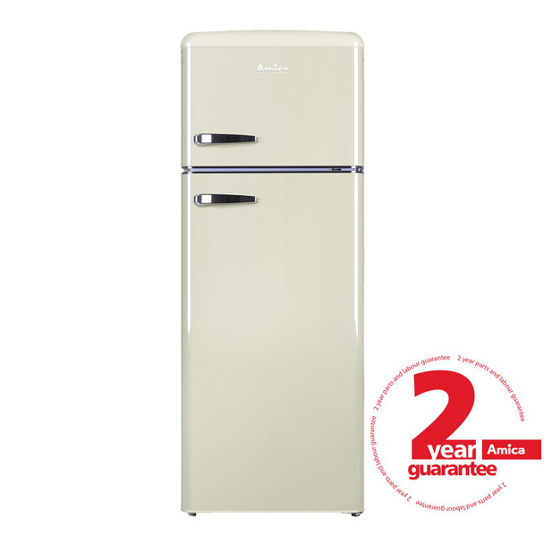Amica FDR2213C 55cm Cream Freestanding Tall Retro Style A+Rated Fridge Freezer