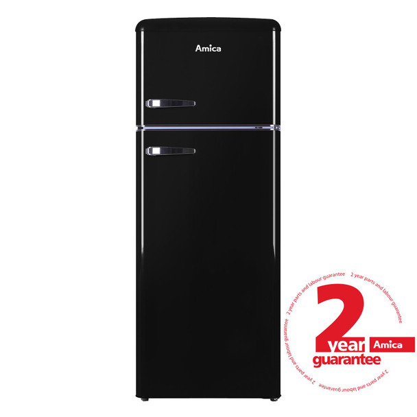 Amica FDR2213B 55cm Black Freestanding Tall Retro Style A+Rated Fridge Freezer