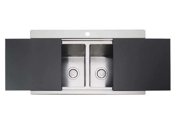 Clearwater Glacier 2.0 Bowl Stainless Steel Sink & Black Glass Chopping Boards