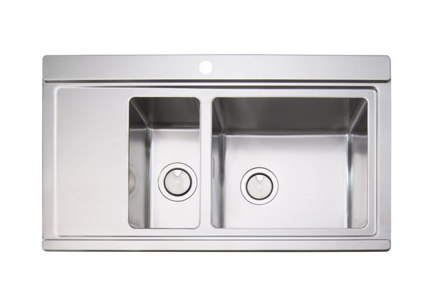 Clearwater Glacier 1.5 Bowl Stainless Steel Sink & White Glass Chopping Boards