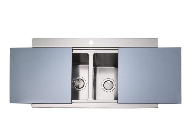 Clearwater Glacier 1.5 Bowl Stainless Steel Sink & Silver Glass Chopping Boards