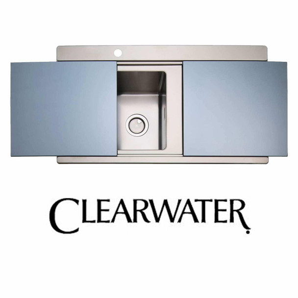 Clearwater Glacier 1 Bowl Stainless Steel Sink & Silver Glass Chopping Boards