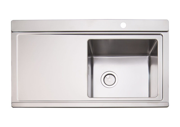 Clearwater Glacier 1 Bowl LHD Stainless Steel Sink & White Glass Chopping Boards