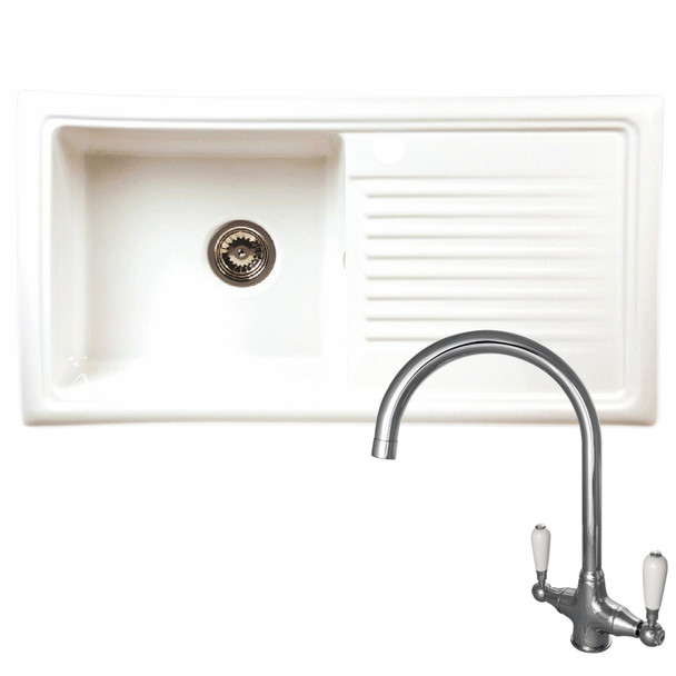 Reginox RL304CW 1 Bowl White Ceramic Traditional Reversible Kitchen Sink & Tap