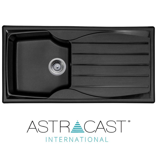Astracast Sierra 1.0 Bowl Reversible Black Kitchen Sink With Basket Waste Kit