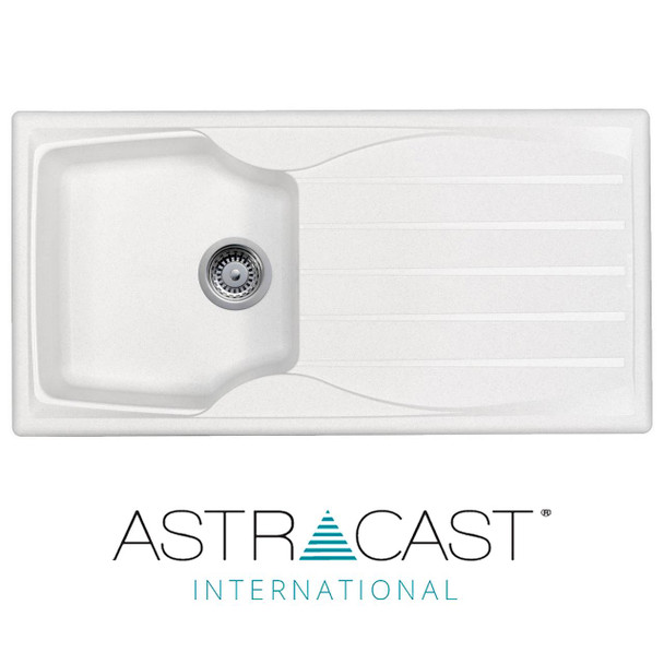 Astracast Sierra 1.0 Bowl Reversible White Kitchen Sink With Pop Up Waste Kit