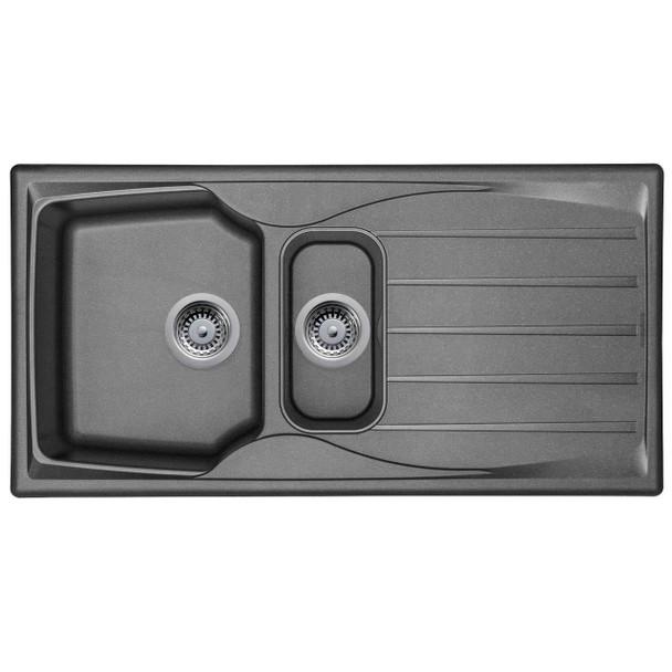 Astracast Sierra 1.5 Bowl Reversible Graphite Grey Kitchen Sink And Pop Up Waste
