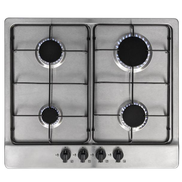 SIA 60cm Single Electric Oven, 4 Burner Gas Hob &Curved Glass Cooker Hood Fan