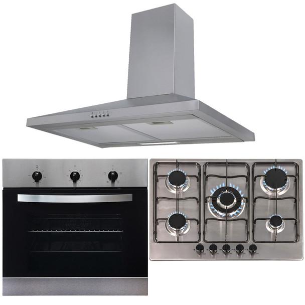 SIA 60cm Stainless Steel Single Oven, 70cm 5 Burner Gas Hob And Chimney Hood Fan