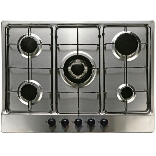 SIA 60cm Black Touch Control Oven, 70cm 5 Burner Gas Hob &Curved Glass Hood Fan
