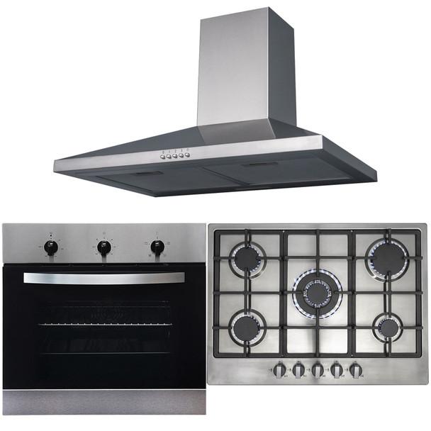 SIA 60cm Stainless Steel Fan Oven, 70cm 5 Burner Gas Hob And Chimney Cooker Hood