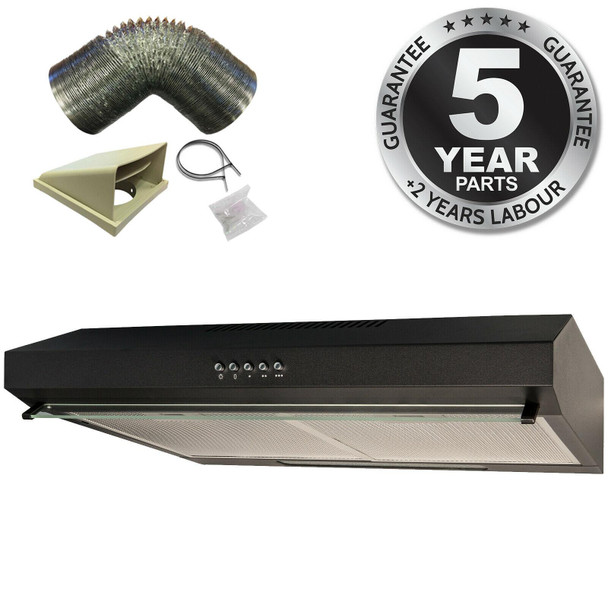 SIA STH50BL 50cm Black Slimline Visor Cooker Hood Kitchen Extractor & 3m Ducting