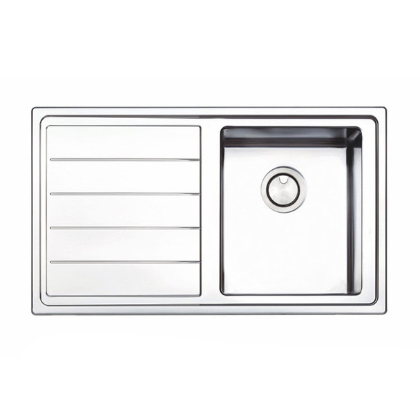 Clearwater Linear Plus 1 Bowl Left Handed Brushed Stainless Steel Kitchen Sink